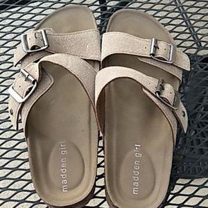 Madden girl tan slip on sandals size 8.5